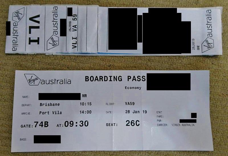 ヴァージン・オーストラリア航空 搭乗券 VIRGIN AUSTRALIA BOARDING PASS