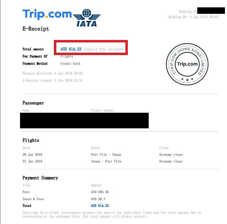 タンナ島 フライト 航空券